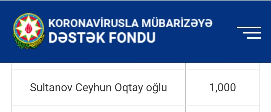 """""""Neftçi""""nin idman direktoru 1000 manatı Fonda ianə etdi"""