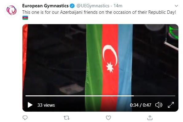 """""""Bu, azərbaycanlı dostlarımız üçündür!"""" - Avropa Gimnastikas paylaşım etdi"""