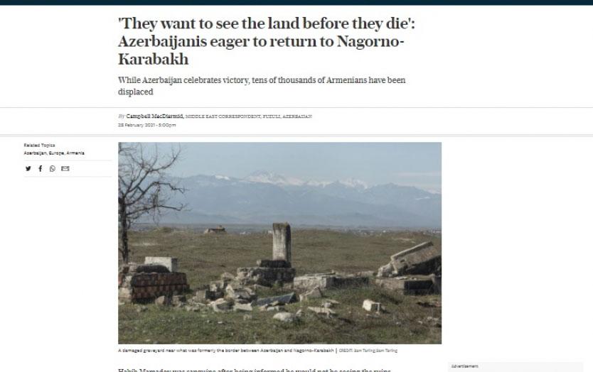 """""""Azərbaycanlılar Qarabağa qayıtmağı səbirsizliklə gözləyir"""" - """"The Telegraph"""""""