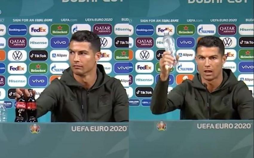 """Ronaldo """"Coca-Cola""""dan imtinaya və su içməyə çağırdı - FOTO"""