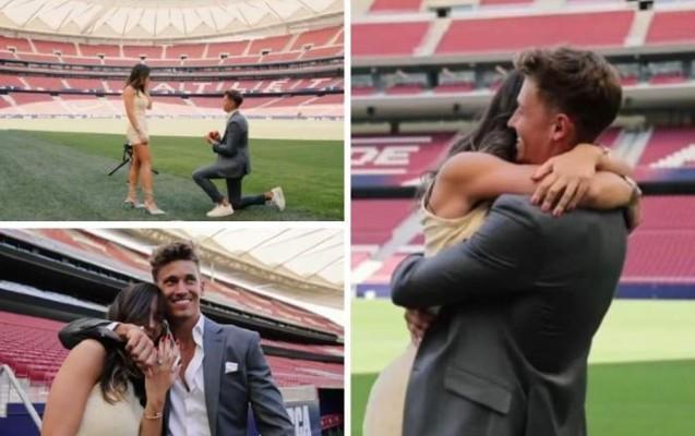 Tanınmış futbolçu sevgilisinə stadionda evlilik təklif etdi - VİDEO