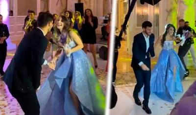 Azərbaycanlı futbolçu nişanlısı ilə rəqs etdi, hamı tamaşasına dayandı - VİDEO